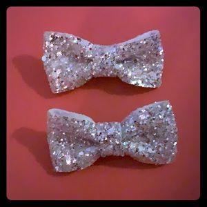 Silver glitter hair bows